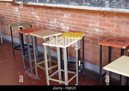 Bar in legno sgabelli in soffitto alto cucina con metro bianco