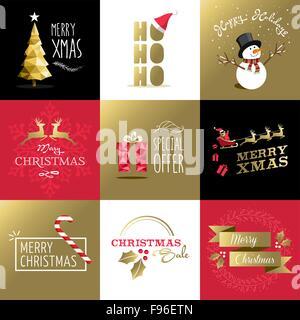 Buon Natale in stile retrò design set in colori oro, include il biglietto di auguri progetta, etichette, vendita Foto Stock