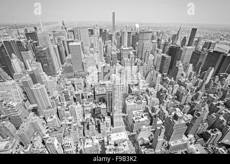 Bianco e nero tonica vista aerea di Manhattan, New York City, Stati Uniti d'America. Foto Stock