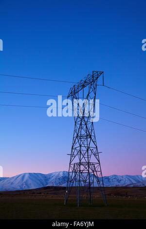 Pilone di potenza al crepuscolo, Maniototo di Central Otago, Isola del Sud, Nuova Zelanda Foto Stock