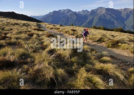 Giovani femmine escursionista trekking lungo la via Keplero, Nuova Zelanda Foto Stock