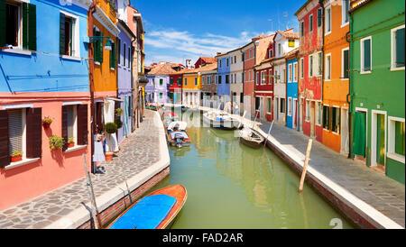 Villaggio Burano vicino a Venezia, (Laguna di Burano Island), Italia Foto Stock