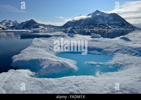 Pack o drift ice off l'isola Kulusuk, est della Groenlandia, Groenlandia Foto Stock