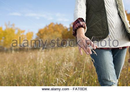 Donna che cammina nel campo autunno toccando erba alta Foto Stock