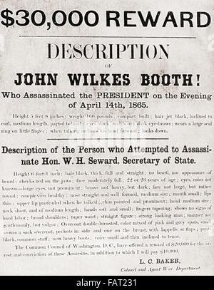 Poster che offre un $30.000 ricompensa per l'arresto di Giovanni documento Wilkes Booth, l uomo che ha assassinato Foto Stock