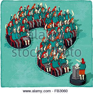 Altoparlante pubblico e pubblico nella sessione di domande e risposte all'interno del punto interrogativo Foto Stock