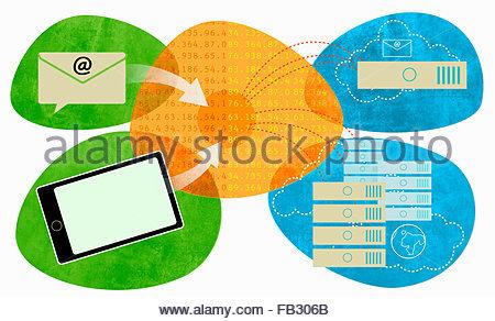 E-mail, tavoletta digitale e i file collegati dal server di rete e il cloud computing Foto Stock