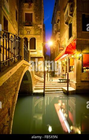 Venezia di notte, Veneto, Italia, UNESCO Foto Stock