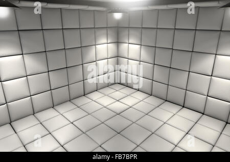 Un bianco cella imbottita in un ospedale mentale Foto Stock