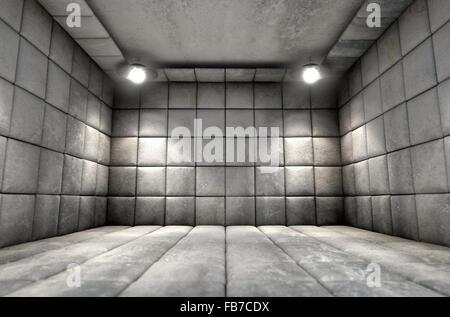Un bianco sporco cella imbottita in un ospedale mentale Foto Stock