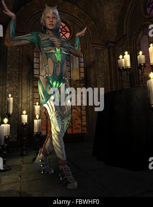 Warrior nel rituale Foto Stock