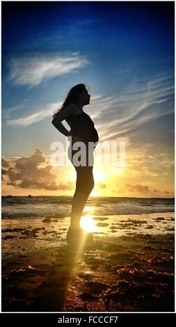 Per tutta la lunghezza della donna incinta in piedi sulla spiaggia contro il cielo durante il tramonto Foto Stock