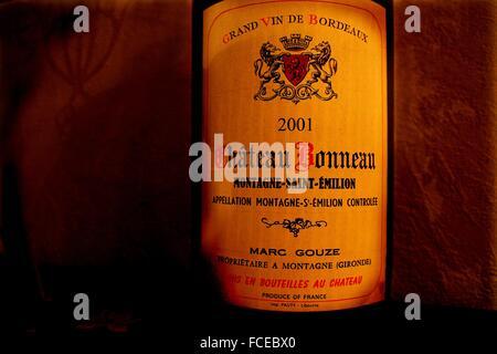 Bottiglia di Montagne di Saint Emilion vino, dai famosi i vini di Bordeaux aree, Gironde, Aquitaine, Francia Foto Stock