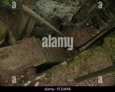 Scala in legno dalla grande muraglia rocciosa circondata da moss lungo il percorso escursionistico sul Manitoulin Foto Stock