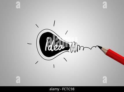 Idea Concetto di immagine con disegno a matita lampadina Foto Stock