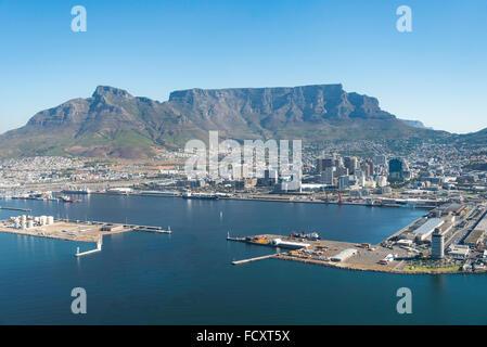 Vista aerea della città e del porto, città di Cape Town Metropolitan Comune, Provincia del Capo occidentale, Repubblica Foto Stock