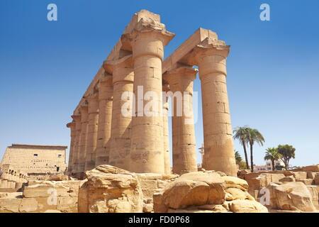 Antica colonna nel tempio di Luxor Luxor Egitto Foto Stock