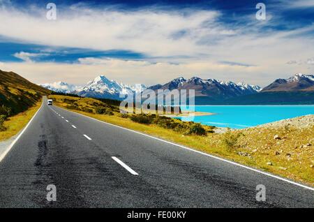 Il Monte Cook e il Lago Pukaki, Nuova Zelanda Foto Stock