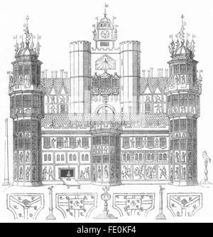 Londra: Nonsuch casa antica stampa 1845 Foto Stock