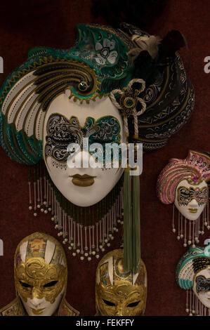 Miniatura carnevale veneziano maschere Foto Stock