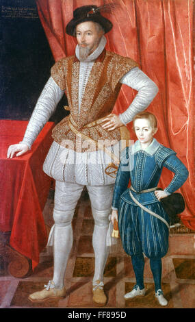 SIR WALTER RALEIGH /n(1552-1618). L'avventuriero inglese, cortigiano, e scrittore. Raleigh con suo figlio, Wat. Olio su tela, 1602, da un artista sconosciuto. Foto Stock
