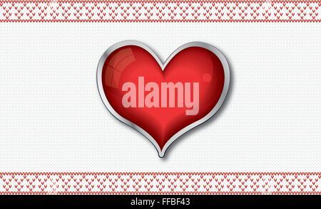 San Valentino con carta lucida rossa cuore su sfondo a maglia Foto Stock
