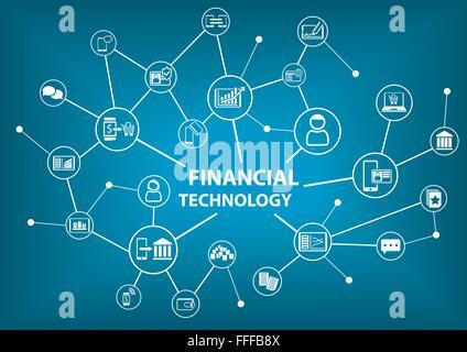 La tecnologia finanziaria (Fin-Tech) concetto come illustrazione vettoriale sfondo Foto Stock