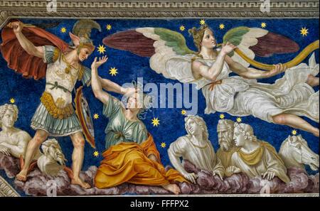 Affresco e dettagli ornamentali di Villa Farnesina. Roma, Italia Foto Stock