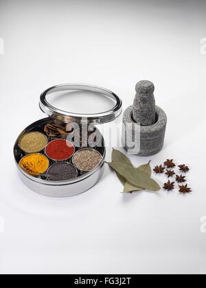 Diversi tipi di spezie in ciotole in acciaio inox box con il vecchio macinino di pietra Foto Stock