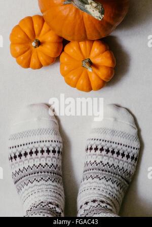 Sezione bassa della donna di indossare i calzini di fronte zucche sul pavimento Foto Stock