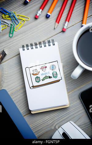 Immagine composita di loghi doodle Foto Stock