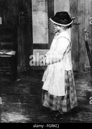 "Belle arti, Uhde, Fritz von (1848 - 1911), pittura, ""Im Vorzimmer' (presso la sala), 1885, olio su tela, 135 x 100 Foto Stock"