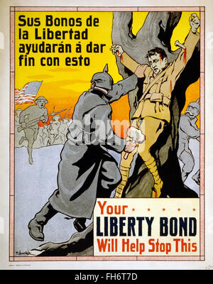 La vostra libertà legame servirà a fermare questa - noi poster di propaganda - la prima guerra mondiale Foto Stock
