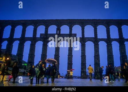 Acquedotto romano di Segovia, Castiglia-Leon, Spagna Foto Stock