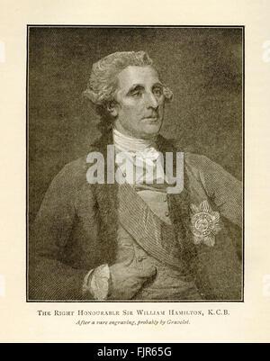L'onorevole Sir William Hamilton, K.C.B., da una incisione probabilmente da Hubert-François Bourguignon (1699 - Foto Stock