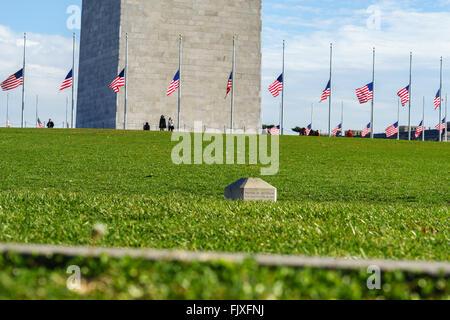 Il Monumento a Washington circondato da bandiere nordamericane Foto Stock