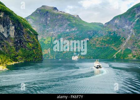 Gerainger fiordo, Sito Patrimonio Mondiale dell'UNESCO, Norvegia, Scandinavia, Europa Foto Stock