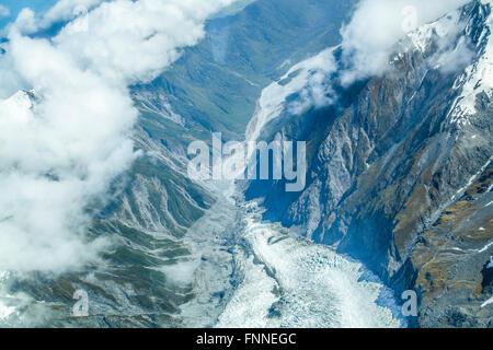 Mount Cook e le Alpi del Sud dal di sopra Foto Stock