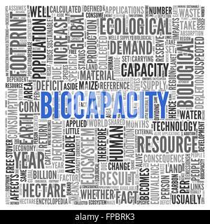 Vicino la biocapacità il testo al centro della parola Tag Cloud su sfondo bianco. Foto Stock