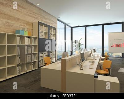 Ufficio Moderno Sa : Ufficio moderno con più postazioni di lavoro con scrivania computer