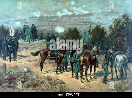 Vintage Guerra civile poster della battaglia di cresta missionaria che ha avuto luogo durante la campagna di Chattanooga. La stampa mostra gen.