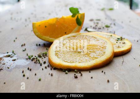 Orange e slice Foto Stock