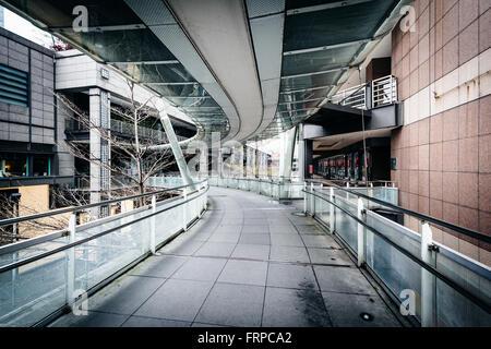 Passaggio pedonale nel quartiere di Xinyi, Taipei, Taiwan. Foto Stock