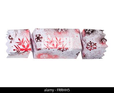 Singolo ritaglio di una smart red Christmas cracker. Foto Stock