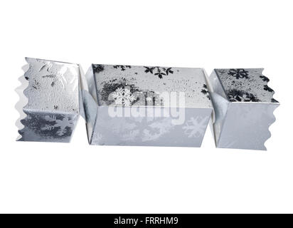 Singolo ritaglio di una smart silver Christmas cracker. Foto Stock