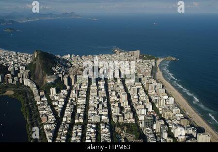 Vista aerea di Ipanema Copacabana - Lagoa Rodrigo de Freitas sinistra Foto Stock