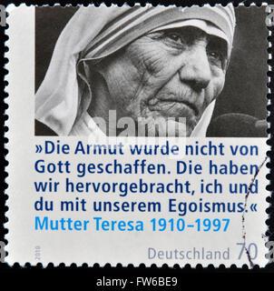 Germania - circa 2010: un timbro stampato in Germania mostra Madre Teresa, circa 2010 Foto Stock