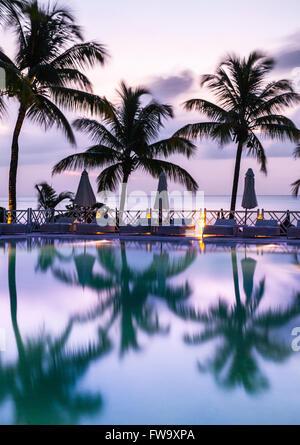 Le palme e la piscina presso il Maritim Hotel in Mauritius. Foto Stock