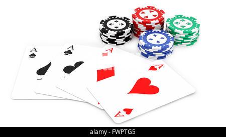 Eseguire il rendering di 4 assi e casino chips, isolato su bianco Foto Stock