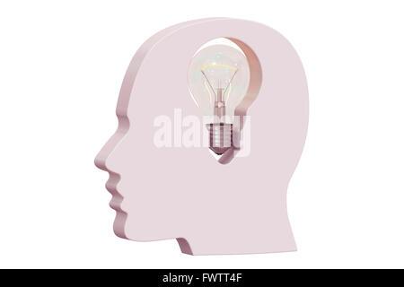 Idea concetto con testa umana. Il rendering 3D Foto Stock